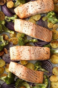 Roasted Salmon with Crispy Potatoes and Broccoli